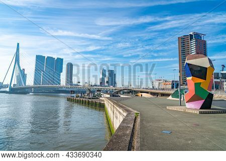 Rotterdam Netherlands - August 22 2021; Waterfront With Colorful Abstract Sculpture Named Marathonbe