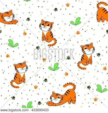 Seamless Vector Children's Pattern With A Tiger Cub On The Grass. White Background With Repeating Ba