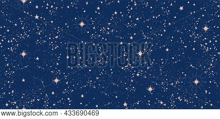 Seamless Boho Pattern With Stars On A Blue Background For Tarot, Astrology. Magic Cosmic Sky, Abstra