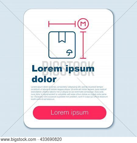 Line Carton Cardboard Box Measurement Icon Isolated On Grey Background. Box, Package, Parcel Sign. D