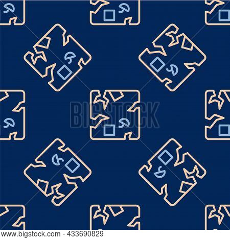 Line Broken Cardboard Box Icon Isolated Seamless Pattern On Blue Background. Box, Package, Parcel Si