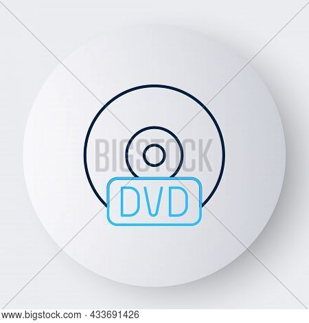 Line Cd Or Dvd Disk Icon Isolated On White Background. Compact Disc Sign. Colorful Outline Concept.