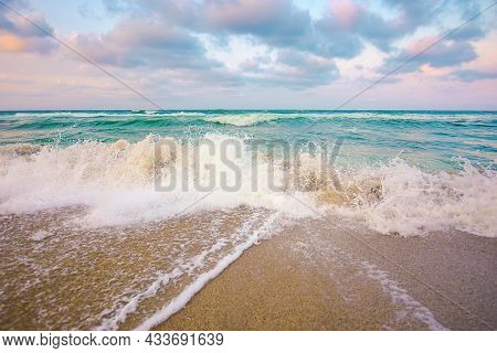 Evening Landscape At The Sea. Beautiful Nature Scenery. Summer Vacation Concept. Dramatic Sky Above
