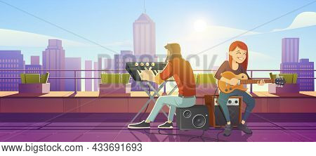 Singer Woman Playing Guitar On Building Roof Perform Live Music. Girl Artist Singing Song, Man Playi