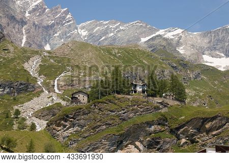 Summer View Of Breuil-cervinia In Valtournenche During Beautiful Day Of July, Aosta Valley, Italy