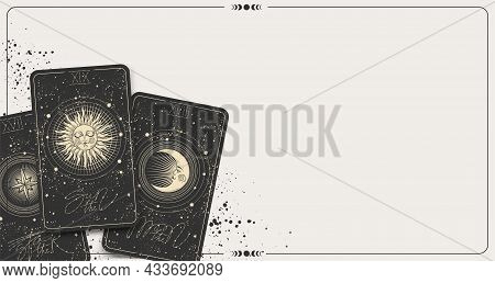 Banner With Tarot Cards And Copy Space, Place For Text, Mockup For Fortune Telling, Astrology, Zodia