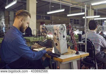 Craftsman Shoe Designer Sewing Boot On Stitching Machine Side View Shot
