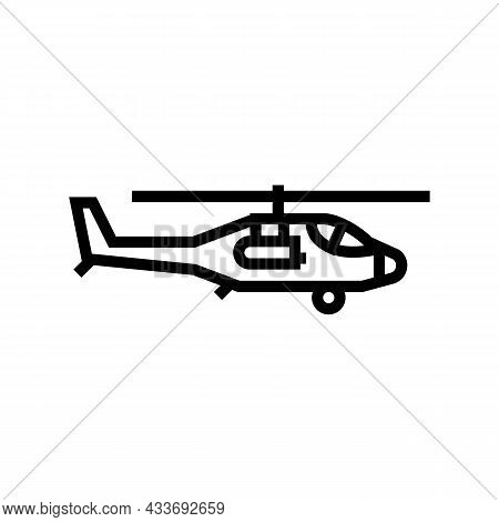 Helicopter Flying Army Machine Line Icon Vector. Helicopter Flying Army Machine Sign. Isolated Conto