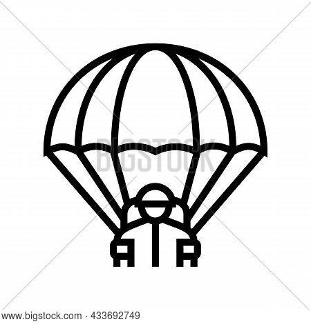 Parachute Soldier Line Icon Vector. Parachute Soldier Sign. Isolated Contour Symbol Black Illustrati