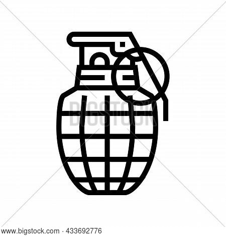 Grenade War Weapon Line Icon Vector. Grenade War Weapon Sign. Isolated Contour Symbol Black Illustra