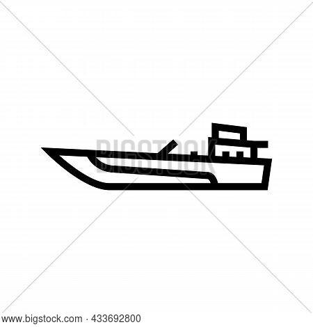 Jet Boat Line Icon Vector. Jet Boat Sign. Isolated Contour Symbol Black Illustration
