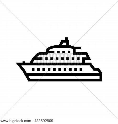 Motor Yacht Boat Line Icon Vector. Motor Yacht Boat Sign. Isolated Contour Symbol Black Illustration