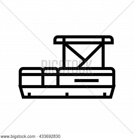 Pontoon Boat Line Icon Vector. Pontoon Boat Sign. Isolated Contour Symbol Black Illustration