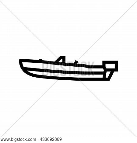 Runabout Boat Line Icon Vector. Runabout Boat Sign. Isolated Contour Symbol Black Illustration