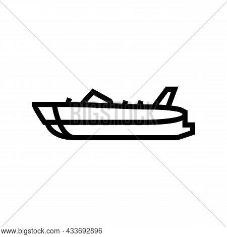 Deck Boat Line Icon Vector. Deck Boat Sign. Isolated Contour Symbol Black Illustration