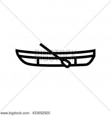 Dinghy Boat Line Icon Vector. Dinghy Boat Sign. Isolated Contour Symbol Black Illustration