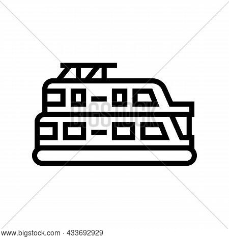 Houseboat Boat Line Icon Vector. Houseboat Boat Sign. Isolated Contour Symbol Black Illustration