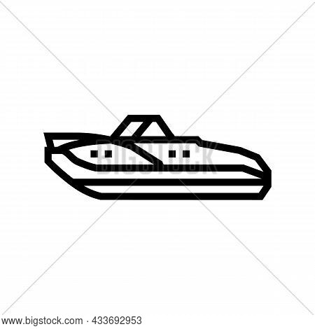 Cuddy Cabins Boat Line Icon Vector. Cuddy Cabins Boat Sign. Isolated Contour Symbol Black Illustrati