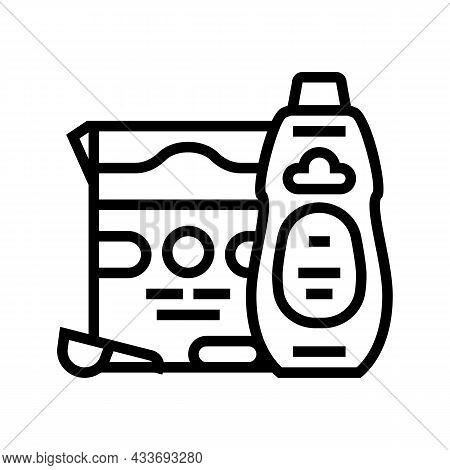 Laundry Set Line Icon Vector. Laundry Set Sign. Isolated Contour Symbol Black Illustration