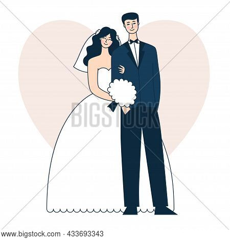Beautiful Wedding Couple. Bride And Groom. Doodle Vector Illustration