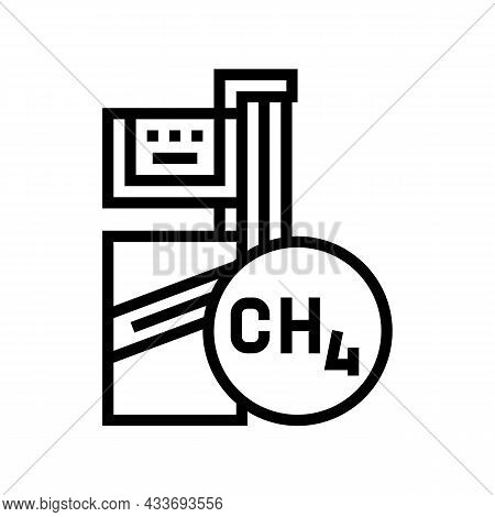 Methane Gas Station Line Icon Vector. Methane Gas Station Sign. Isolated Contour Symbol Black Illust