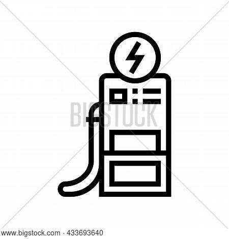 Operator Refuel Car, Gas Station Worker Service Line Icon Vector. Operator Refuel Car, Gas Station W