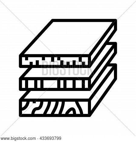 Sheets Of Wood Materials Line Icon Vector. Sheets Of Wood Materials Sign. Isolated Contour Symbol Bl