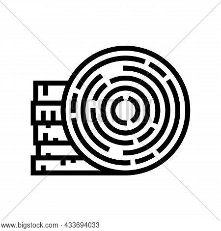 Round Wood Line Icon Vector. Round Wood Sign. Isolated Contour Symbol Black Illustration