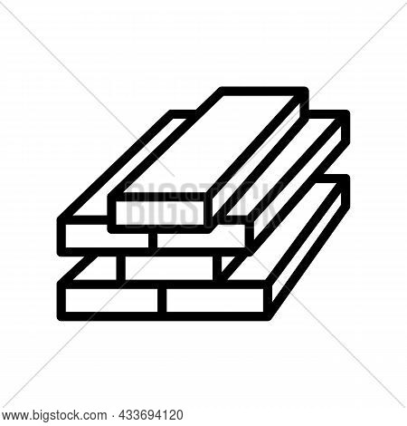 Lumber Timber Line Icon Vector. Lumber Timber Sign. Isolated Contour Symbol Black Illustration