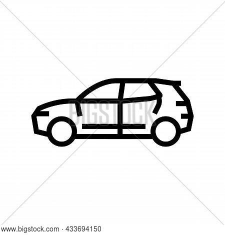 Suv Car Line Icon Vector. Suv Car Sign. Isolated Contour Symbol Black Illustration