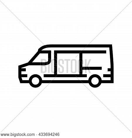 Cargo Van Car Line Icon Vector. Cargo Van Car Sign. Isolated Contour Symbol Black Illustration