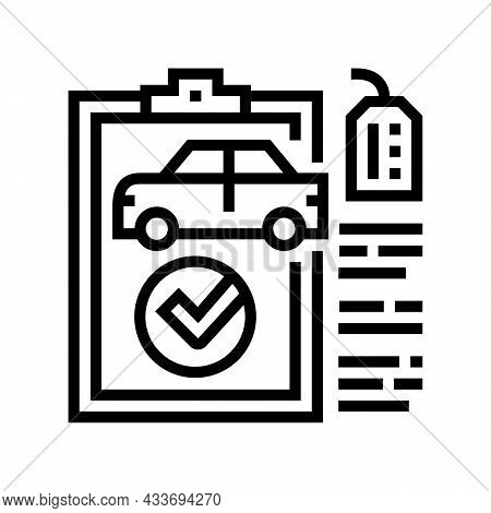 Check Used Car Line Icon Vector. Check Used Car Sign. Isolated Contour Symbol Black Illustration