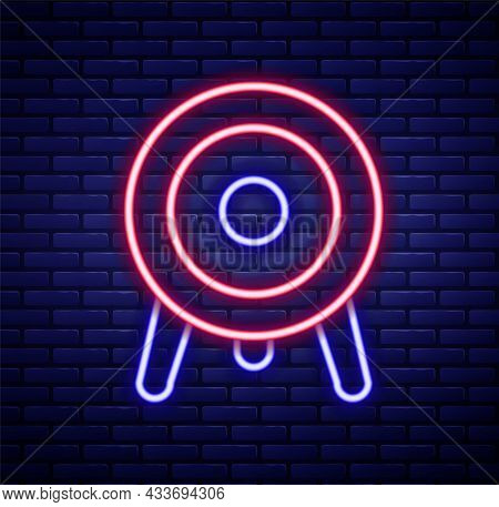 Glowing Neon Line Target Sport Icon Isolated On Brick Wall Background. Clean Target With Numbers For