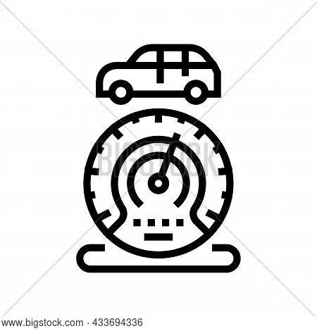 Mileage Car Equipment Line Icon Vector. Mileage Car Equipment Sign. Isolated Contour Symbol Black Il