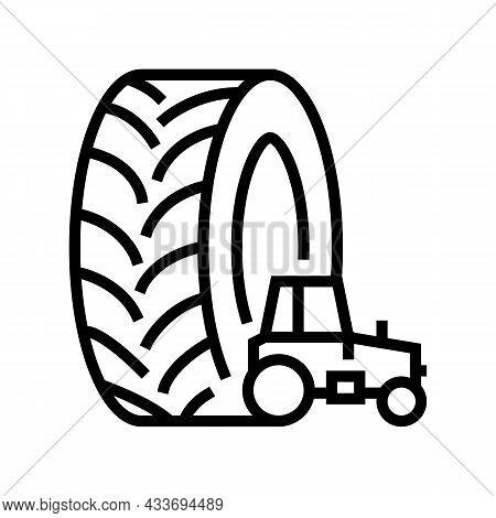 Farm Tractor Tires Line Icon Vector. Farm Tractor Tires Sign. Isolated Contour Symbol Black Illustra
