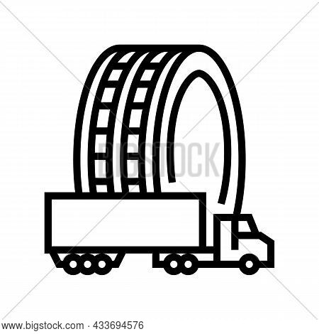 Commercial Truck Tires Line Icon Vector. Commercial Truck Tires Sign. Isolated Contour Symbol Black