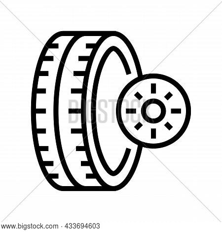 Summer Season Tires Line Icon Vector. Summer Season Tires Sign. Isolated Contour Symbol Black Illust