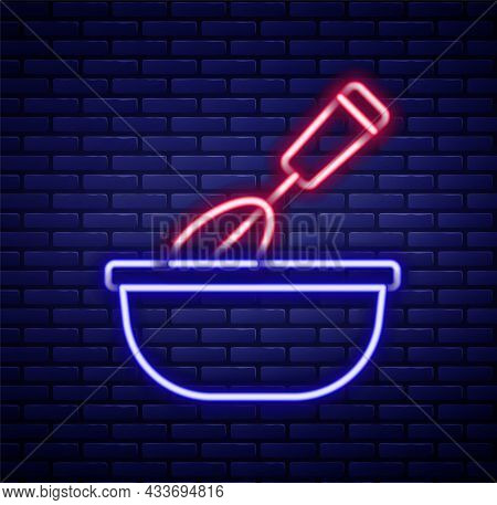 Glowing Neon Line Cooking Whisk With Bowl Icon Isolated On Brick Wall Background. Cooking Utensil, E