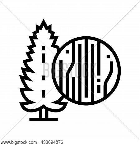 Pine Wood Line Icon Vector. Pine Wood Sign. Isolated Contour Symbol Black Illustration