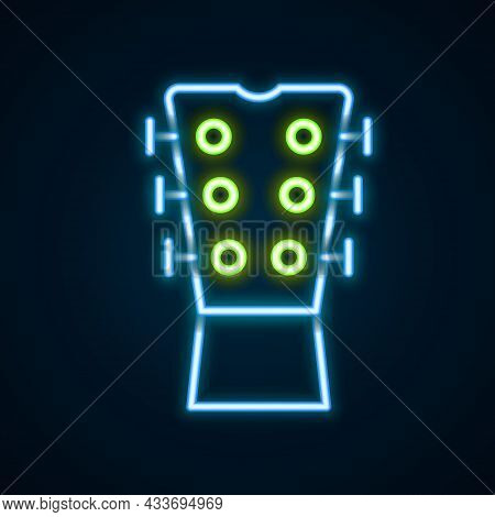 Glowing Neon Line Guitar Neck Icon Isolated On Black Background. Acoustic Guitar. String Musical Ins