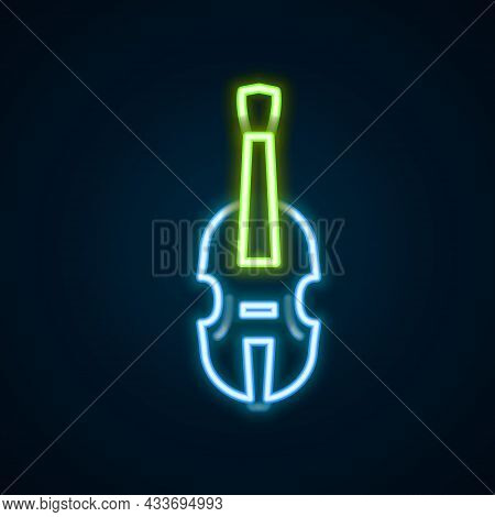 Glowing Neon Line Violin Icon Isolated On Black Background. Musical Instrument. Colorful Outline Con