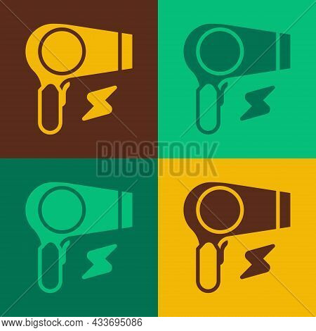 Pop Art Hair Dryer Icon Isolated On Color Background. Hairdryer Sign. Hair Drying Symbol. Blowing Ho