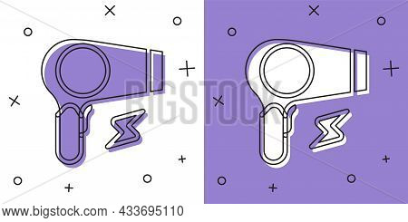 Set Hair Dryer Icon Isolated On White And Purple Background. Hairdryer Sign. Hair Drying Symbol. Blo