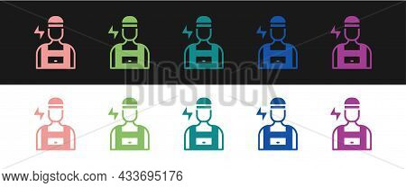Set Electrician Technician Engineer Icon Isolated On Black And White Background. Vector