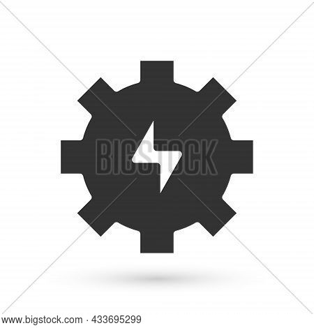 Grey Gear And Lightning Icon Isolated On White Background. Electric Power. Lightning Bolt Sign. Vect