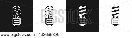 Set Led Light Bulb Icon Isolated On Black And White Background. Economical Led Illuminated Lightbulb