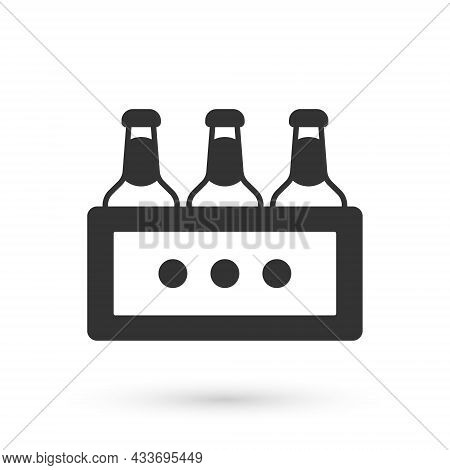 Grey Pack Of Beer Bottles Icon Isolated On White Background. Wooden Box And Beer Bottles. Case Crate