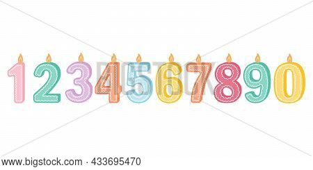 Illustration Of Burning Candles Of Birthday Numbers On A White Background. Cute Candles, For Postcar
