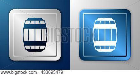 White Wooden Barrel Icon Isolated On Blue And Grey Background. Alcohol Barrel, Drink Container, Wood