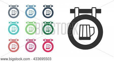 Black Street Signboard With Glass Of Beer Icon Isolated On White Background. Suitable For Advertisem